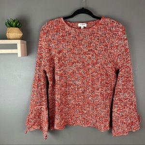 Umgee sweater open knit orange white size small